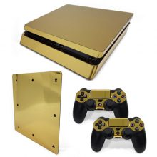 Chrome Gold Full Cover For Sony Plsaystation 4 Slim Skin Sticker + 2 Controller Skins PS4 Slim Game Accessories