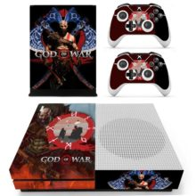 Xbox One S And Controllers Skin Sticker - God of War 4