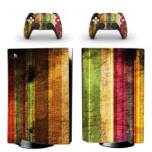 Colorful Wooden Style PS5 Skin Sticker Decal