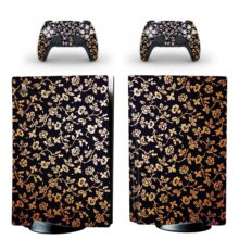 Gold Flowers Skin Sticker For PS5 Skin And Controllers