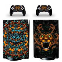 Angry Owl And Lion Art Skin Sticker For PS5 Skin And Controllers