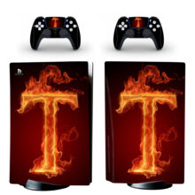 T Letter Flame Wallpaper Skin Sticker Decal For PlayStation 5