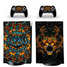 Angry Owl And Lion Art Skin Sticker Decal For PS5 Digital Edition