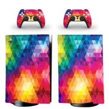 Bright Colorful Diamond Triangles Mosaic PS5 Digital Edition Skin Sticker Decal