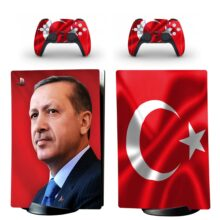 Turkish Flag With Erdogan Skin Sticker Decal For PS5 Digital Edition And Controllers