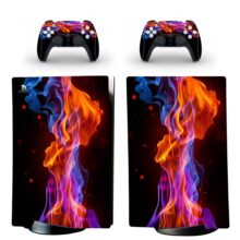Blue And Red Fire Wallpaper PS5 Digital Edition Skin Sticker Decal