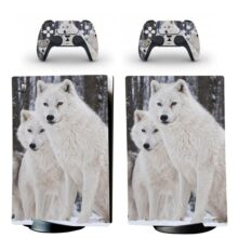 White Wolf In Snow Wallpaper PS5 Digital Edition Skin Sticker Decal