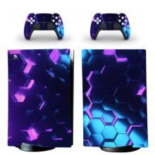Purple Hexagon Pattern PS5 Digital Edition Skin Sticker Decal