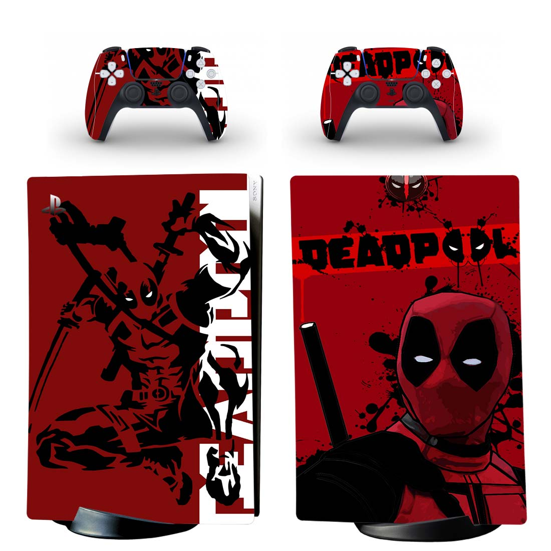 Deadpool PS5 Digital Edition Skin Sticker Decal Design 2
