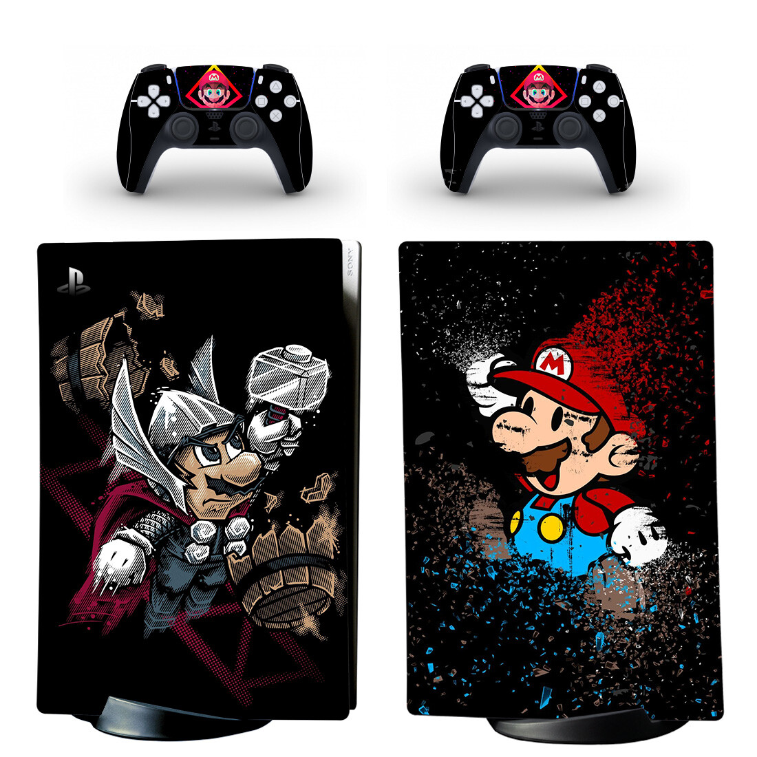 Mario Series Skin Sticker Decal For PS5 Digital Edition And Controllers