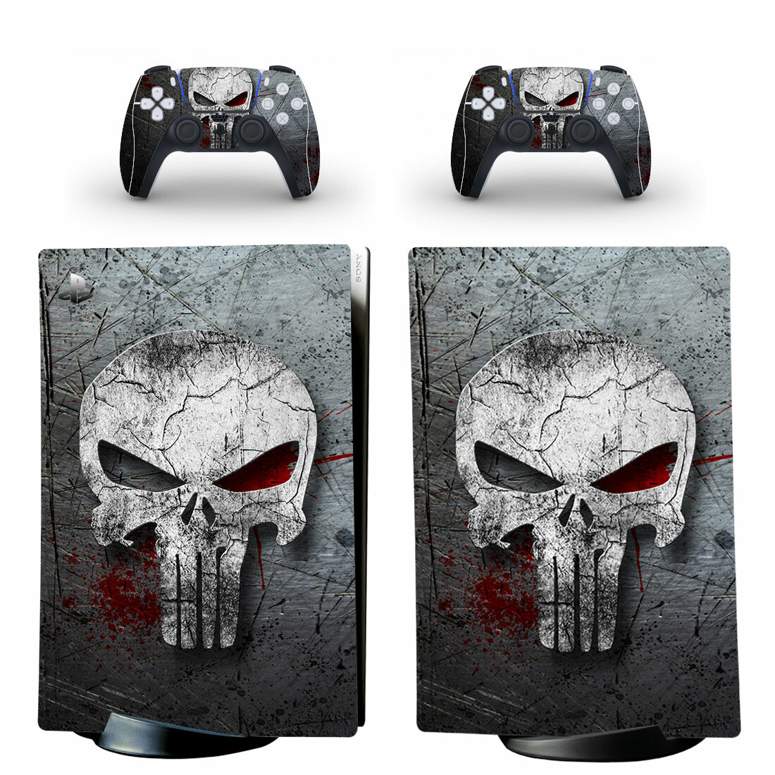 The Punisher Skin Sticker Decal For PS5 Digital Edition And Controllers