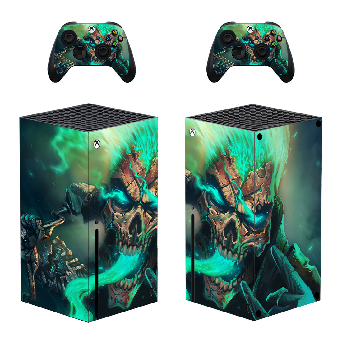 Green Flame Skull Skin Sticker For Xbox Series X And Controllers
