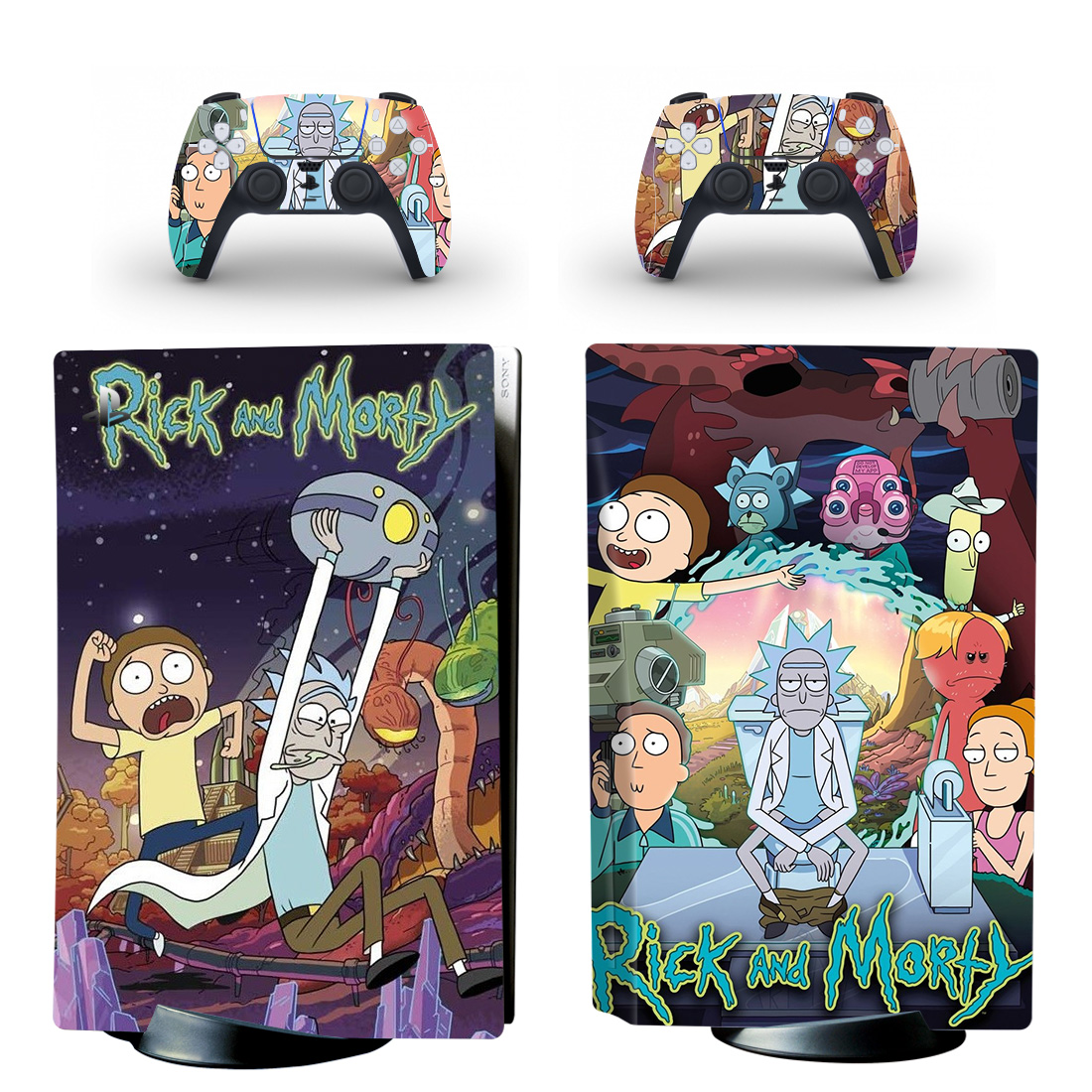 Rick And Morty PS5 Skin Sticker For PlayStation 5 And Controllers Design 8