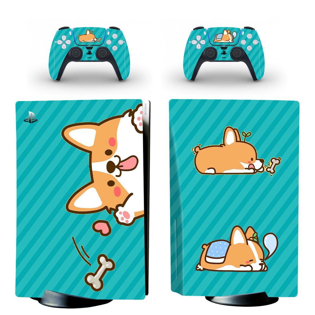 Shiba Inu Cartoon Dog PS5 Skin Sticker Decal Design 1