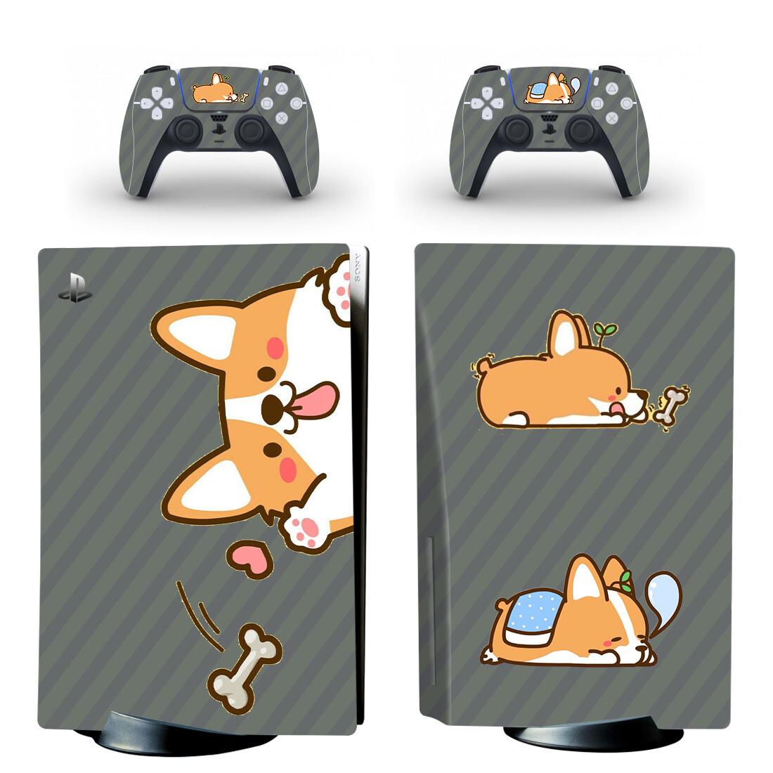 Shiba Inu Cartoon Dog PS5 Skin Sticker Decal Design 3