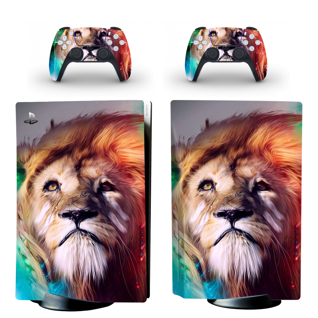 Lion Painting Skin Sticker For PS5 Skin And Controllers