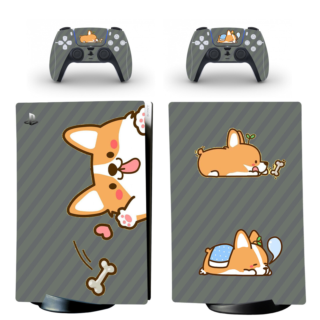 Shiba Inu Cartoon Dog PS5 Digital Edition Skin Sticker Decal Design 3