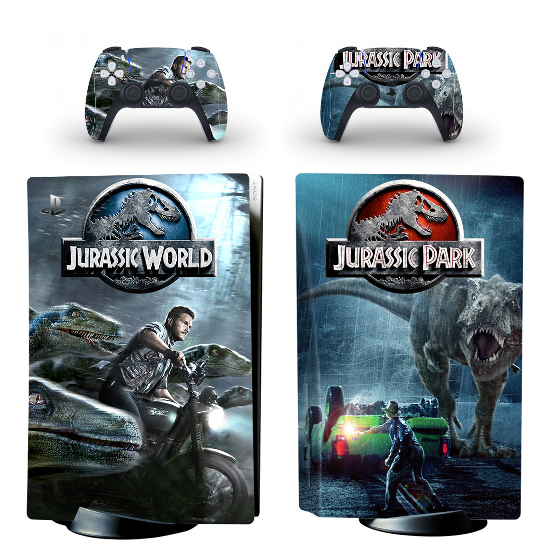 Jurassic World Vs Jurassic Park Skin Sticker For PlayStation 5 And Controllers