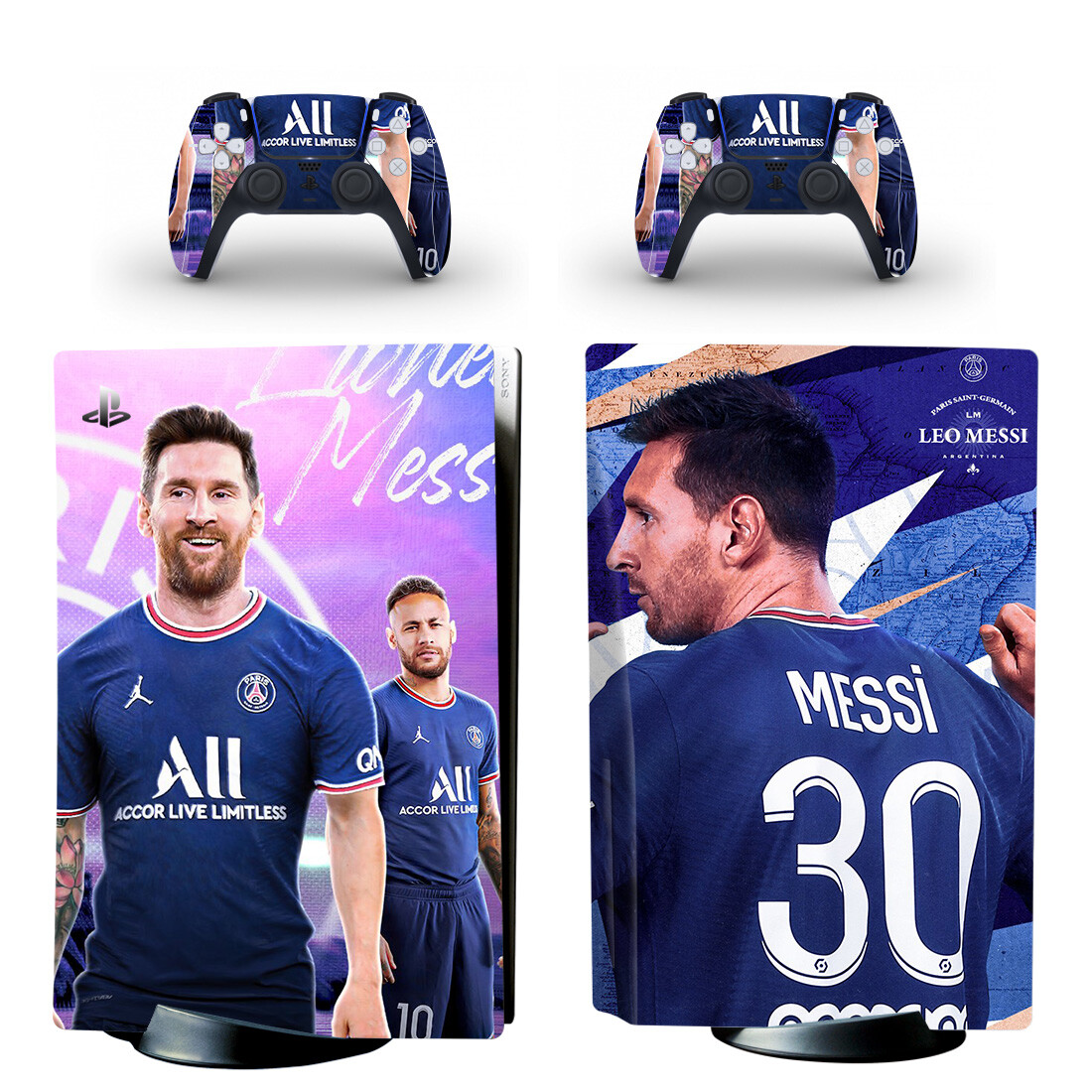 Messi In Psg Jersey Skin Sticker For PlayStation 5 And Controllers