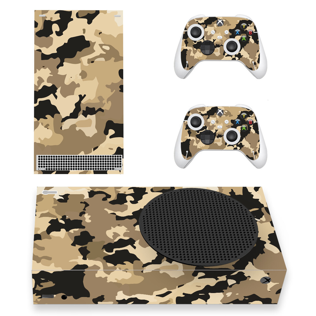 Brown Military Camouflage Skin Sticker For Xbox Series S And Controllers