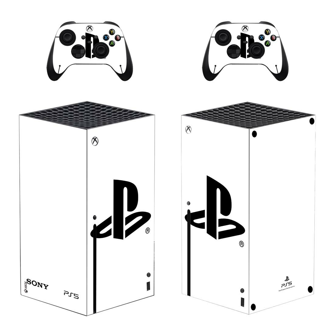 White Color Standard Disc Xbox Series X Skin Sticker Decal Design 1