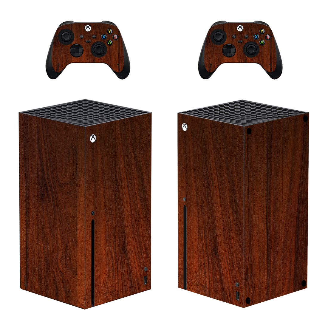 Brown Solid Wood Skin Sticker For Xbox Series X And Controllers